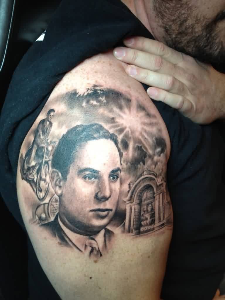 Man Shows Off His Portrait Tattoos On Shoulder