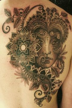 Mandala And Queen Tattoos On Back Of Shoulder