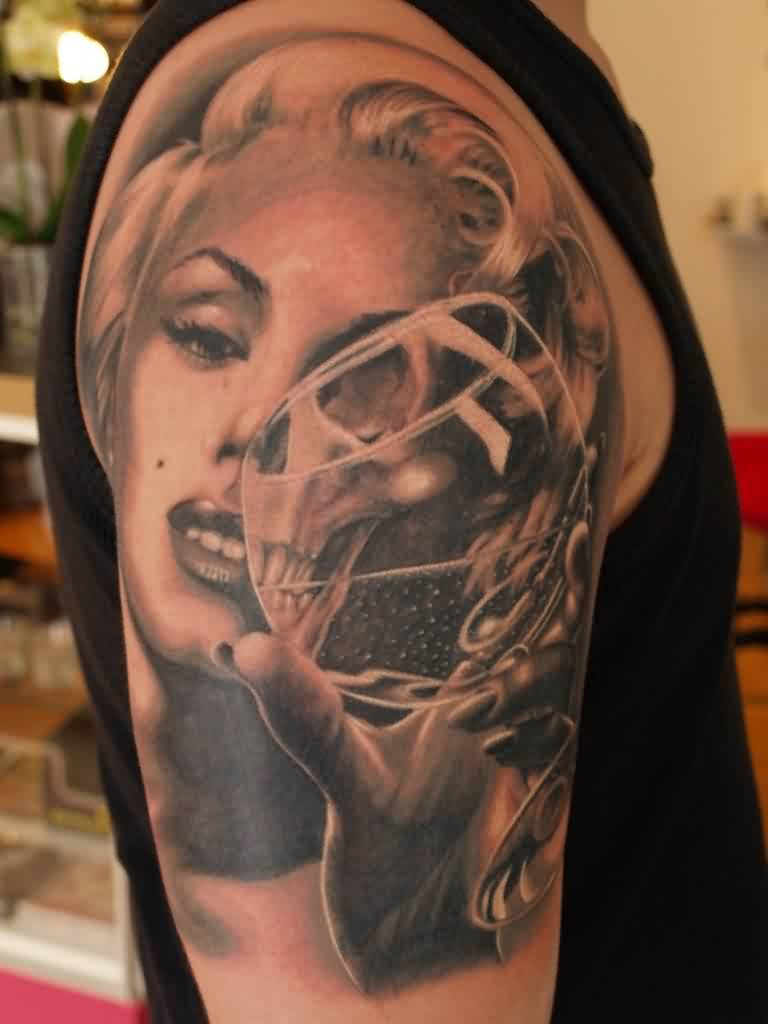 Marilyn Skull Glass Tattoo On Shoulder