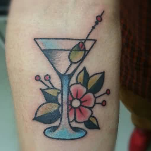 Martini Glass And Flower Tattoos