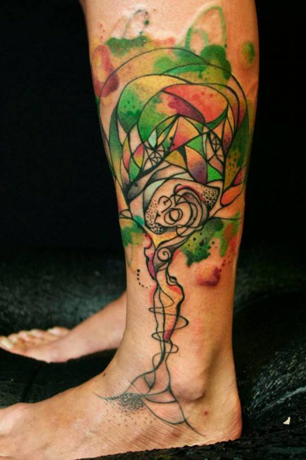 Marvelous Watercolor Tattoo On Leg
