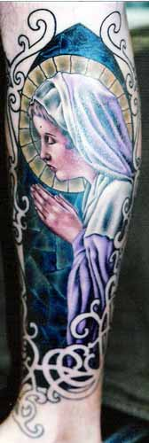 Mary Praying Stained Glass Tattoo
