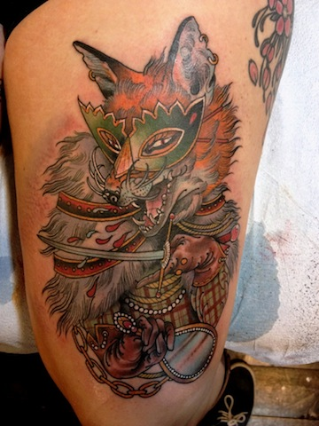 Masked Animal Tattoo On Thigh