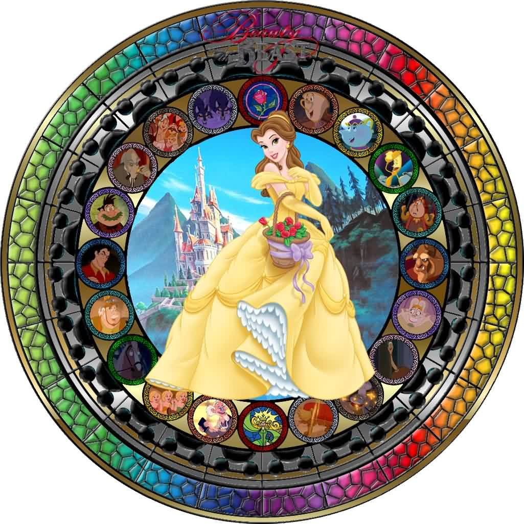 Masterpiece Beauty And The Beast Stained Glass Tattoo Design