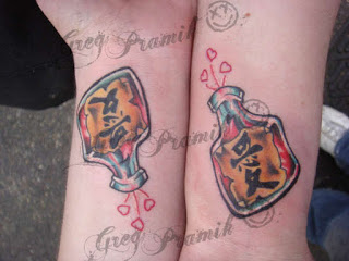 Matching Bottle Tattoos For Couple