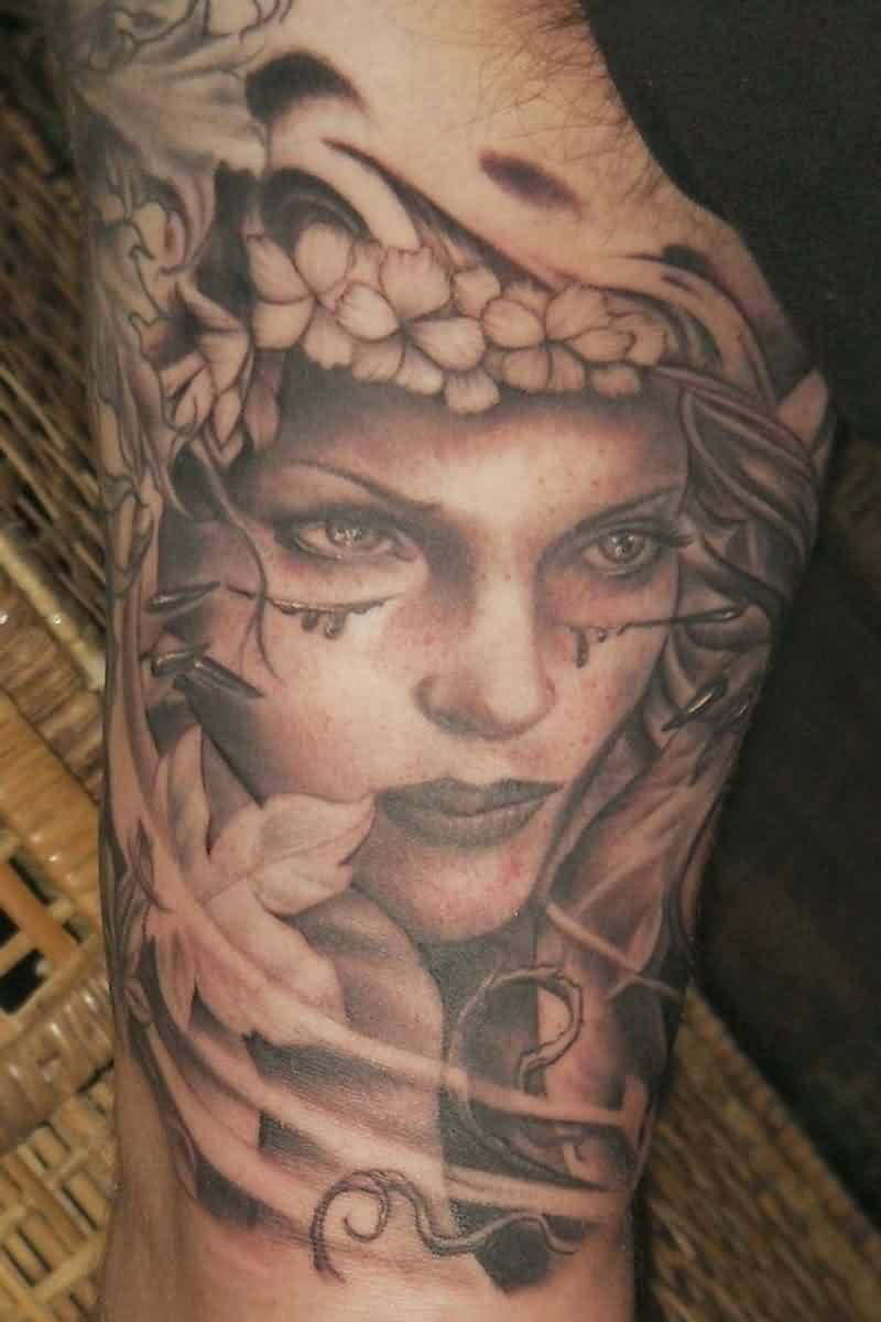 Medusa Portrait Tattoo For Arm