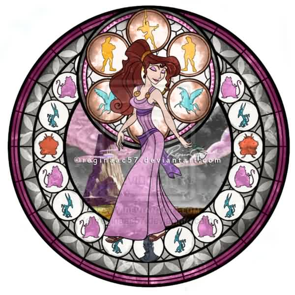Meg Megara Kingdom Hearts Stain Glass Tattoo Design