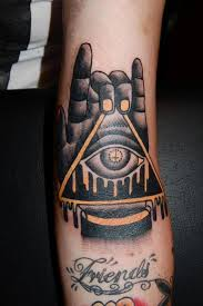 Melting Eye Pyramid In Hand Tattoo