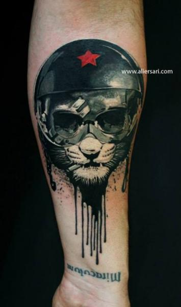 Melting Fantasy Cat Helmet Tattoo
