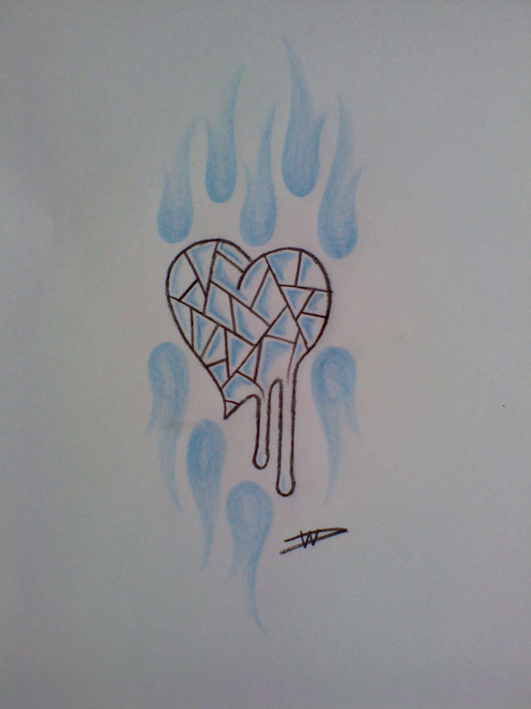 Melting Glass Heart Tattoo Design