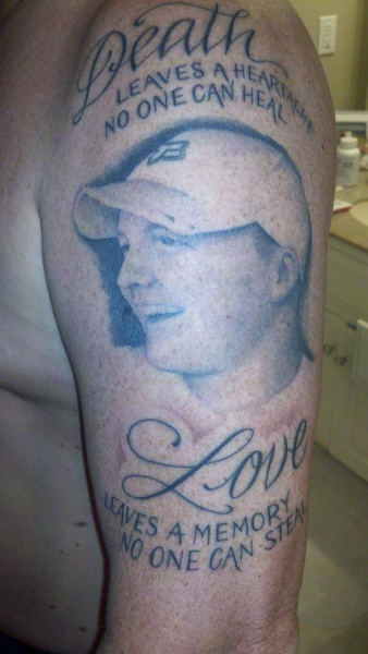 Memorial Portrait Tattoo On Half Sleeve