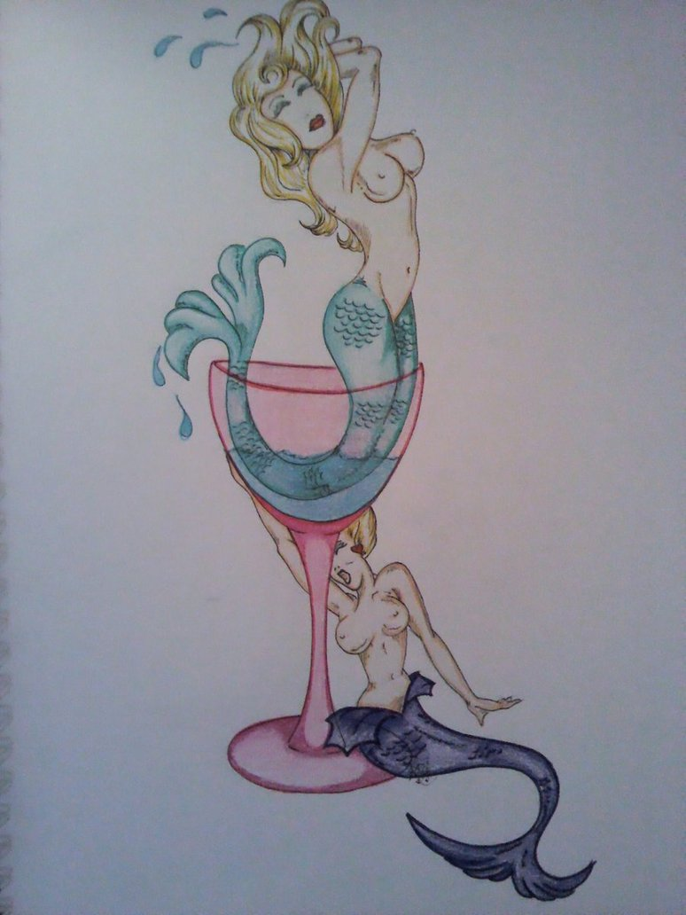 Mermaid Martini Glass Tattoo Design