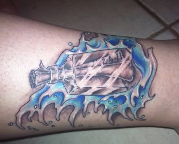 Message Bottle In Blue Wave Tattoo