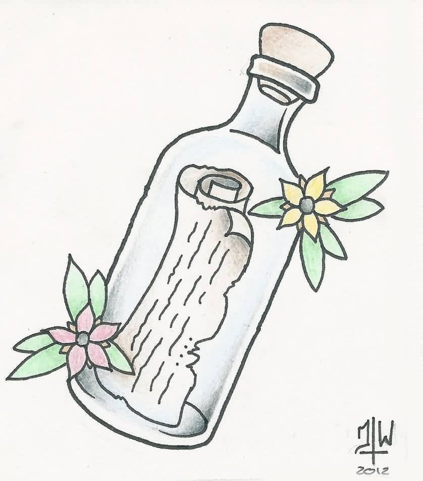 Message In Bottle And Flower Tattoo Designs