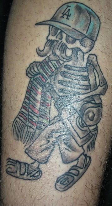 Mexican Skeleton With Grey Bottle Tattoo