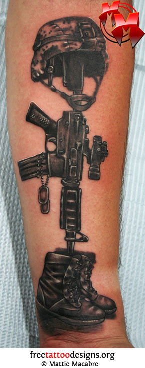 Military Helmet Gun And Boots Tattoos