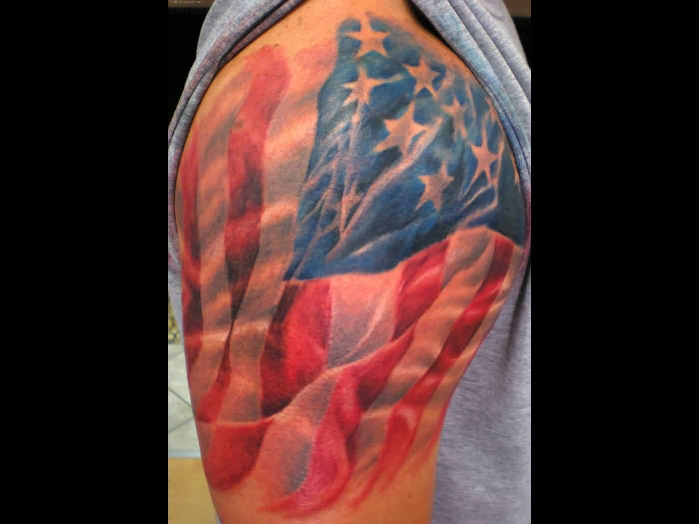 Mind Blowing American Flag Tattoo On Shoulder