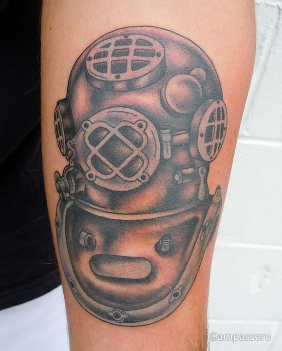 Mind Blowing Diving Helmet Tattoo