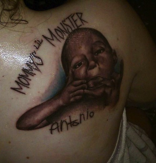 Mommy's Lil Monster Portrait Tattoo On Back Shoulder