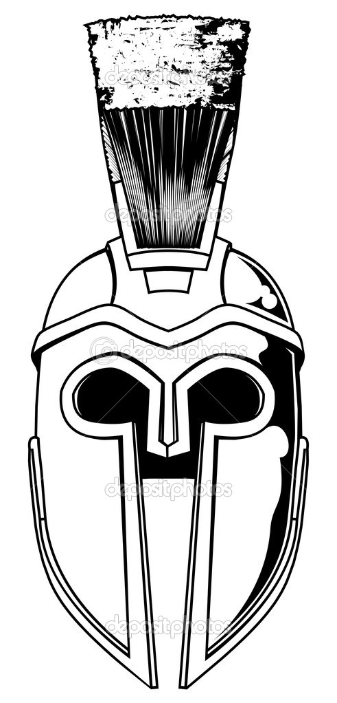 Monochrome Spartan Helmet Tattoo Sample