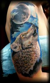 Moon And Wolf Howl Tattoos On Half Sleeve