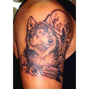 Moon Wolf And Feather Tattoos On Biceps