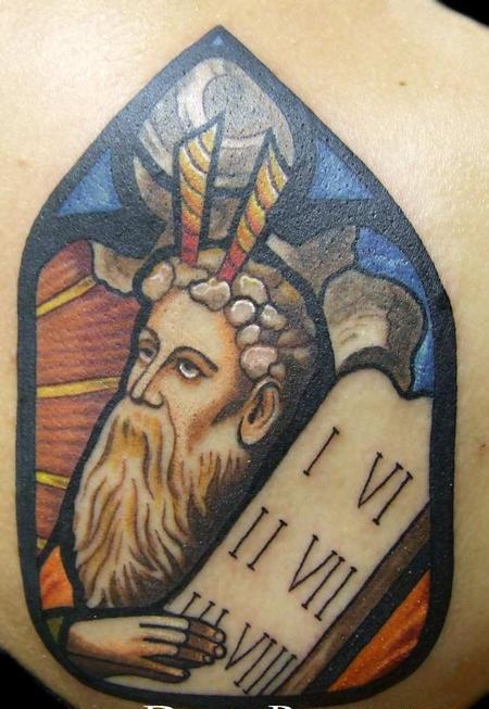 Moses Stained Glass Window Tattoo