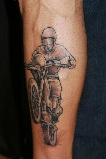 Motocross Guy Wearing Helmet Tattoo