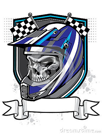 Motocross Skull Rider Wearing Helmet Banner Below Sheild Racing Flag As Background Tattoo Design