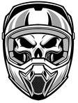 Motocross Skull Wearing Helmet Tattoo Design