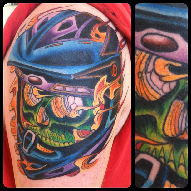 Motorcycle Helmet And Flame Tattoos