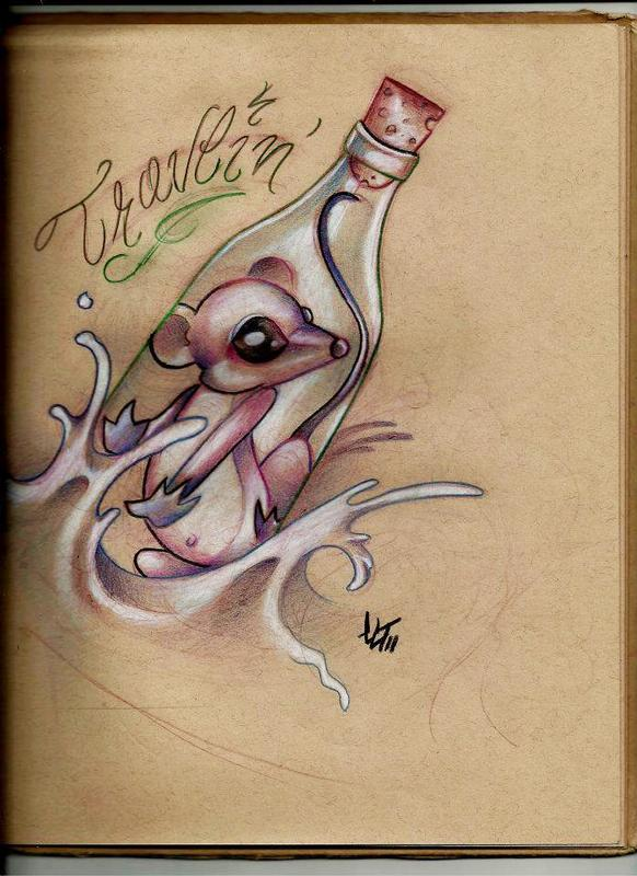 Mouse In Bottle Tattoo Sketch
