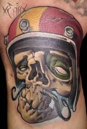 Moustache Skull With Color Helmet Tattoo