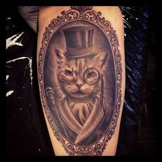 Mr. Cat Portrait In Frame Tattoo