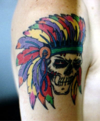 Multi Colored Native American Skull Tattoo