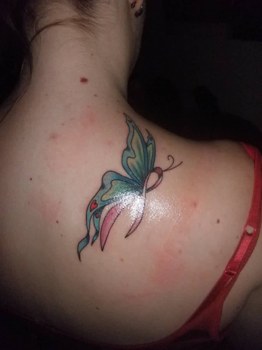 My Breast Cancer Ribbon Butterfly Tattoo