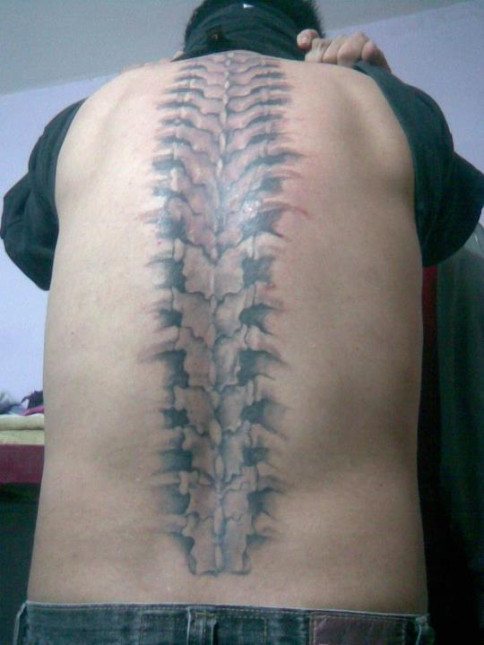 My Grey Spine Bone Tattoo