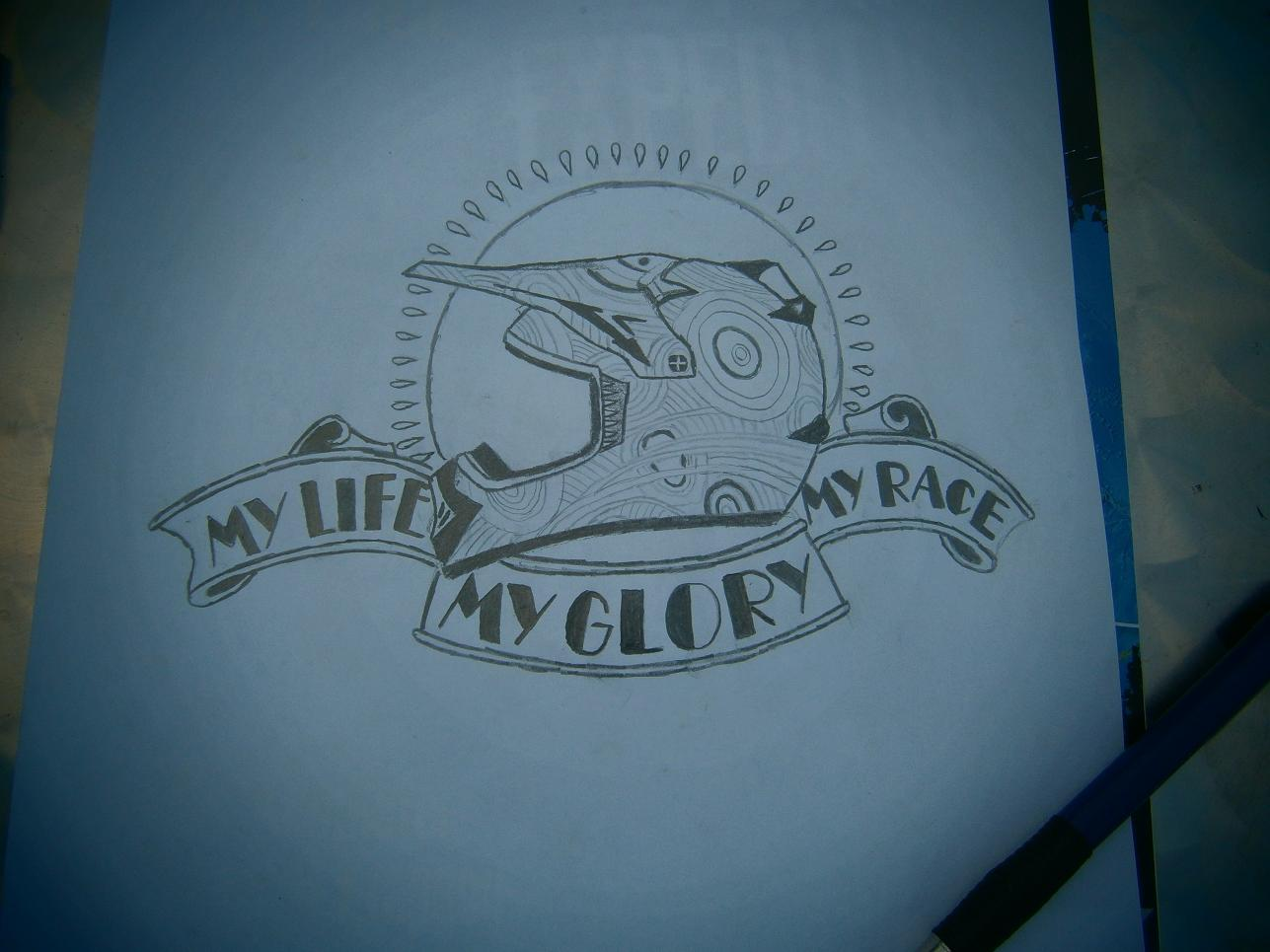 My Life My Race Helmet Tattoo Sketch