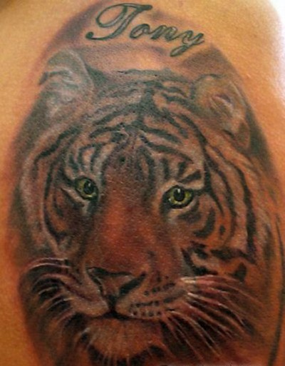 Name And Tiger Face Tattoos