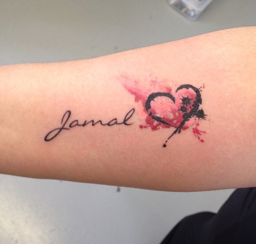 Name And Watercolor Heart Tattoo