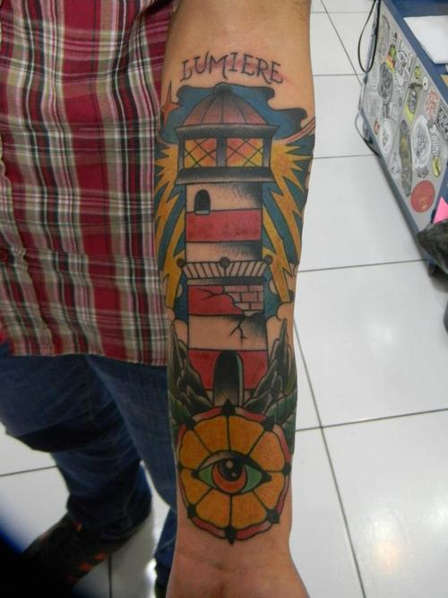 Name Cracked Lighthouse And Flower Tattoos