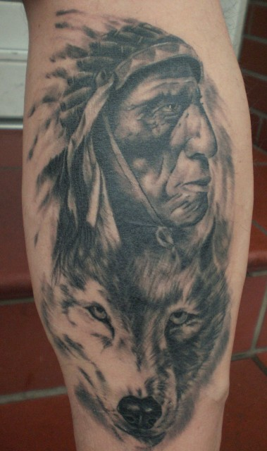 Native American And Wolf Portrait Tattoos On Leg