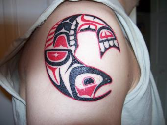 Native American Animal Tattoo On Shoulder