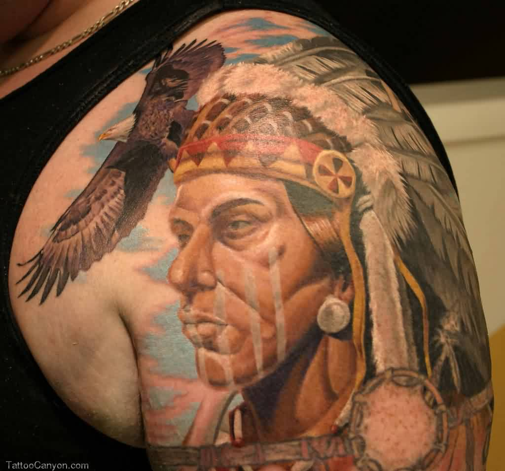 Native American Chief Portrait And Eagle Tattoos On Shoulder