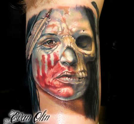 Native American Color Woman Skull Tattoo On Muscles
