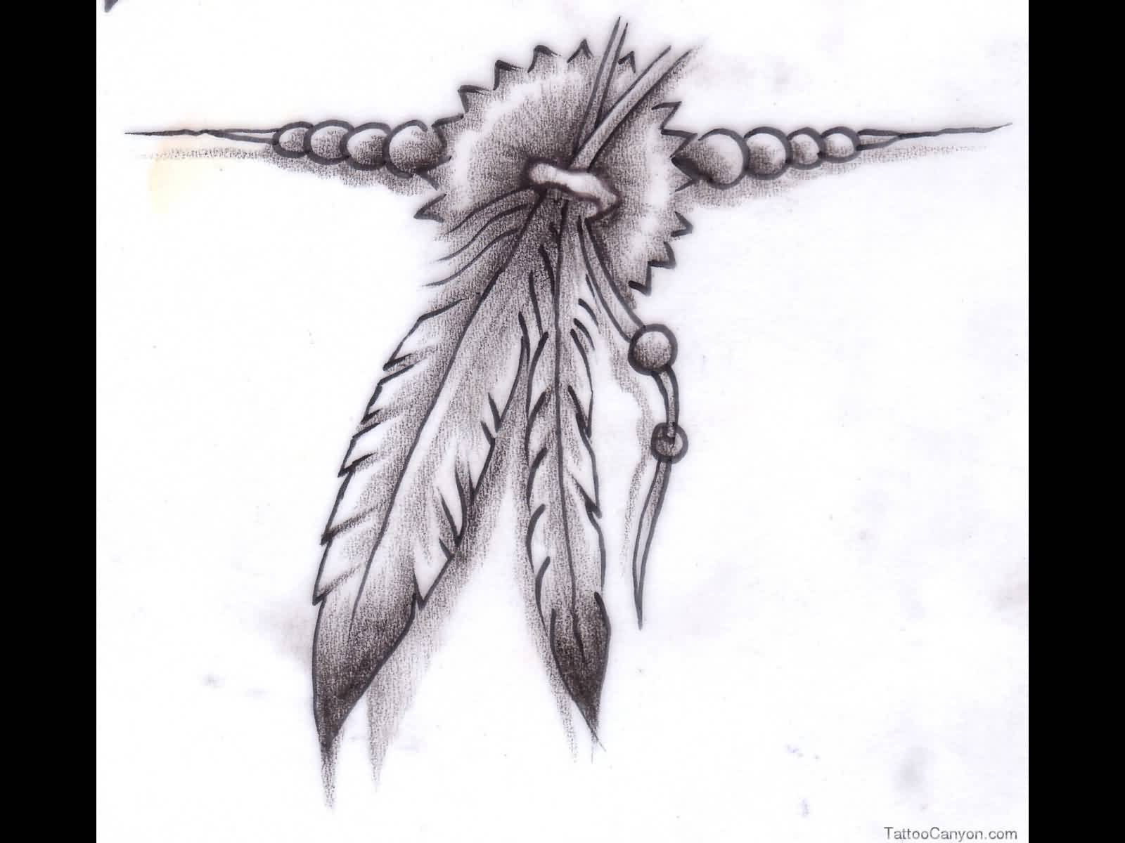 Native American Feather Tattoo Sketch