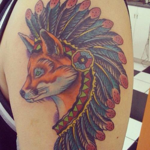 Native American Fox Tattoo On Shoulder