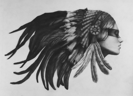 Native American Girl Tattoo Drawing