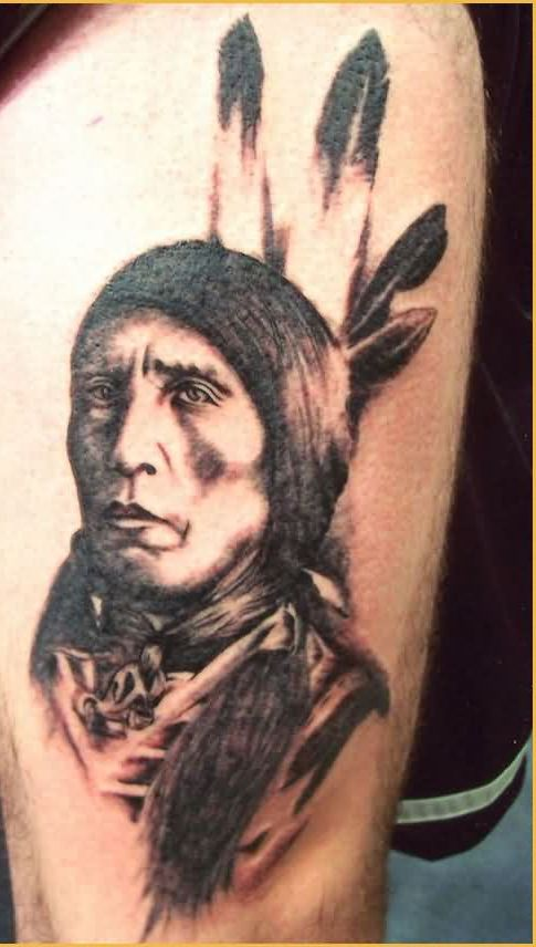 Native American Lady Portrait Tattoo (2)