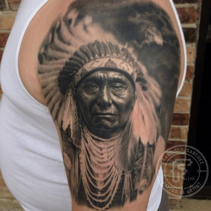 Native American Old Portrait Tattoo On Half Sleeve